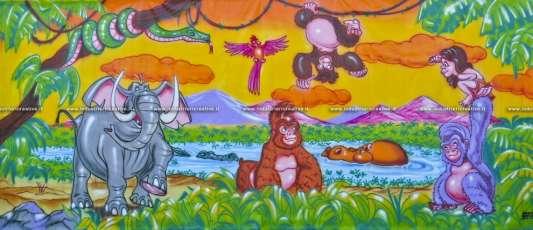 Decorazioni murali parco giochi - tema Jungla