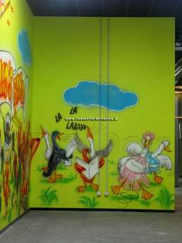 Chicken's band! - play area wall painting