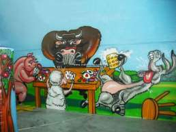 Baby area esempi pitture murali - animali della fattoria - bufalo, maiale, pecora, asino