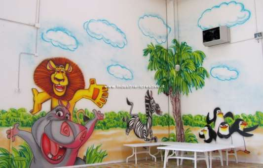 Wall decorations for baby park - Madagascar theme - animals - hippo, lion, zebra, pinguins