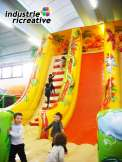 "Inflatable slide ""the jungle"" -  children climbing on the slide"