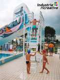 Inflatable slide for swimming pool - who goes up first?