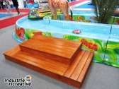 Wooden start platform for Mini River with paddle-carrying trunk