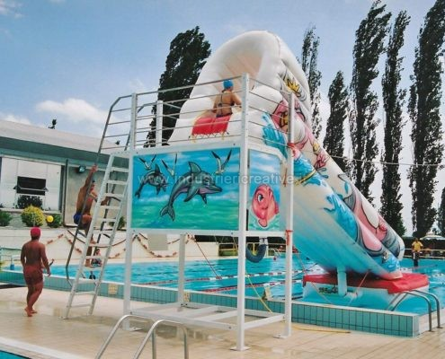 Produzione e vendita di acquascivolo gonfiabile con piattaforma