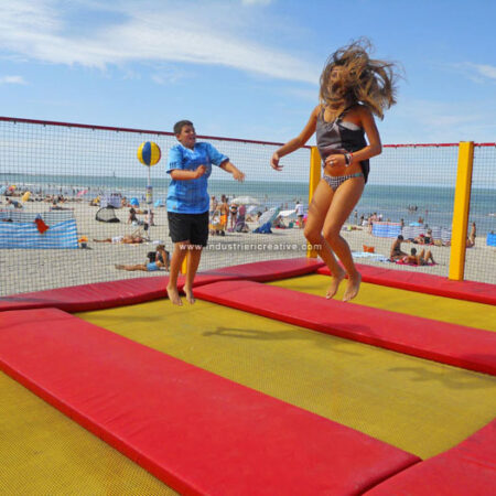 Trampolines for all ages - the beach of Dunkerque, France