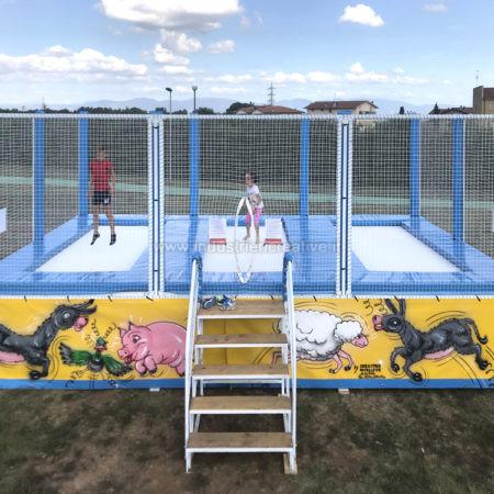 3 trampolines en batterie