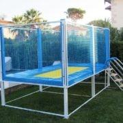 Trampoline professionnel pour jardin bleu